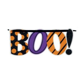 Glitter Hanging Halloween Boo Sign