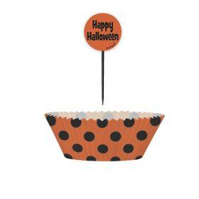 Orange and Black Polka Dot Halloween Cupcake Kit, 24pc