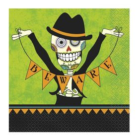 Green Day of the Dead Halloween Napkins