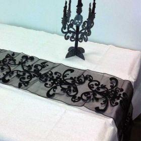 Black Velvet Halloween Table Runner