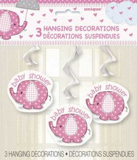 Umbrellaphants Pink Baby Shower Hanging Swirl Decoration
