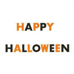 Orange and Black Happy Halloween Glitter Banner