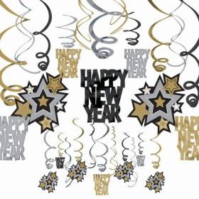 Happy New Year Black, Silver & Gold Hanging Swirl Decorations, pk30