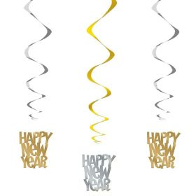Silver & Gold Happy New Year Hanging Swirls