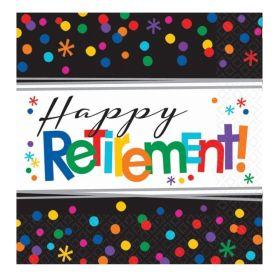 Happy Retirement Luncheon Napkins 33cm x 33cm, pk16