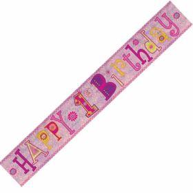 Happy 1st Birthday Girls Foil Banner