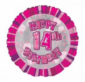 Age 14 Pink Glitz Happy Birthday Foil Balloon