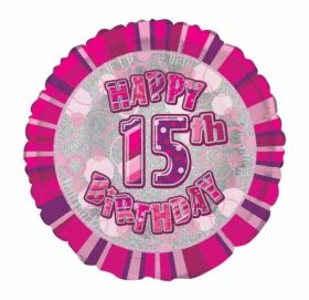 Age 15 Pink Glitz Happy Birthday Foil Balloon