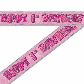 Pink Glitz 1st Birthday Prismatic Banner