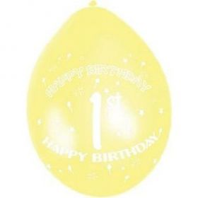 Happy 1st Birthday Assorted Balloons 10pk