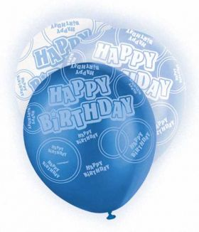 Blue Glitz Happy Birthday All Over Print Party Balloons 6pk