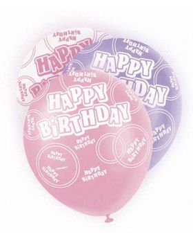 Pink Glitz Happy Birthday All Over Print Party Balloons 6pk
