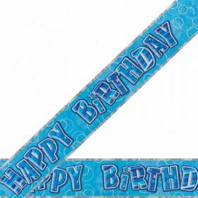 Blue Glitz Happy Birthday Prismatic Party Banner 9ft