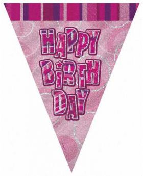 Pink Glitz Happy Birthday Party Flag Banner 9ft