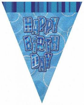 Blue Glitz Happy Birthday Party Flag Banner 9ft
