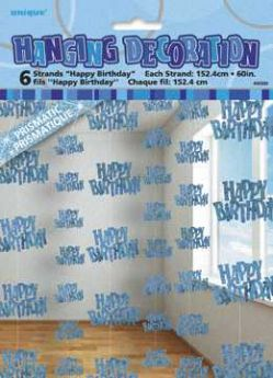 Blue Glitz Happy Birthday Hanging String Party Decoration (6 Strings)