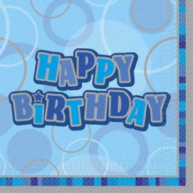 Blue Glitz Happy Birthday Luncheon Party Napkins 16pk