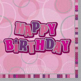 Pink Glitz Happy Birthday Luncheon Party Napkins 16pk