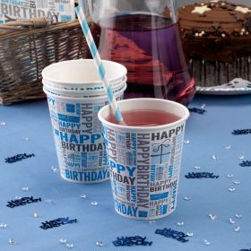 Happy Birthday Blue Cups pk8