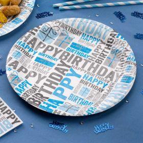 Happy Birthday Blue Plates pk8