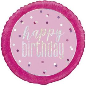 Glitz Pink Happy Birthday Foil Balloon 18""