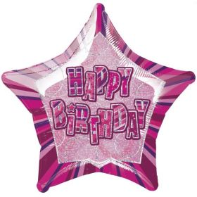 Pink Glitz Star Happy Birthday Foil Party Balloon 20""