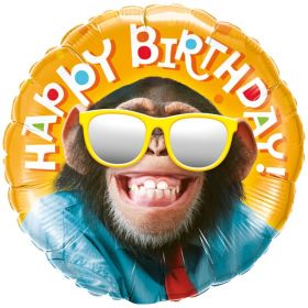 Happy Birthday Smilin' Chimp Foil Balloon 18""