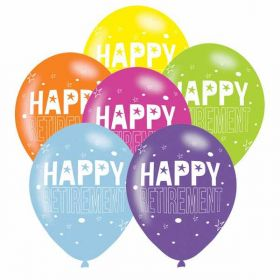Happy Retirement Assorted Colours Latex Balloons pk6