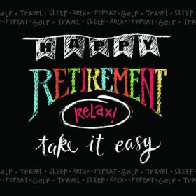 Happy Retirement Chalk Lunch Napkins 33cm x 33cm, pk16