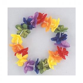 Hawaiian Luau Rainbow Flower Stretch Headband