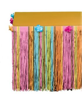 Hawaiian Totally Tiki Tissue Tableskirt with Flowers, 64cm x 3m