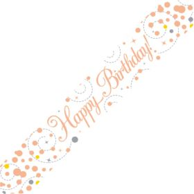 Rose Gold Sparkling Happy Birthday Foil Banner