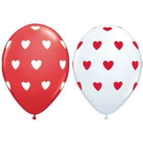 """Hearts Latex Balloons 11"""", pk6"""