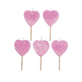 Glitter Heart Candles, pk10