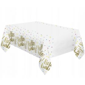 Gold Hello Baby Shower Tablecover 1.37m x 2.13m