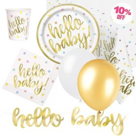 Gold Hello Baby Shower Ultimate Party Pack for 8