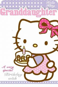 Hello Kitty Granddaughter Glitter Birthday Card