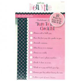Hen Night Dare To Do It Checklist Game