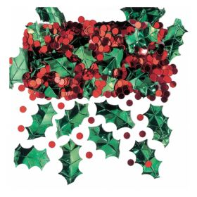 Holly With Berries Metallic Embossed Confetti Mix