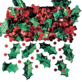 Holly With Berries Metallic Embossed Confetti Mix 14g
