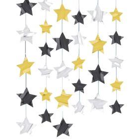 Gold Black & Silver Star Strings 7ft, pk6