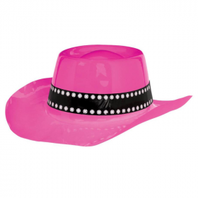 Western Plastic Cowboy Pink Hat