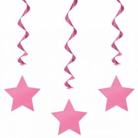 Hot Pink Swirls with Stars Hanging  Party Decorations x 3