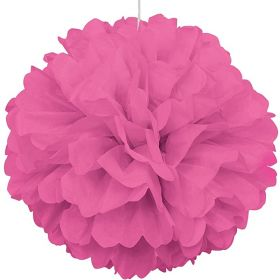 Hot Pink Paper Puff Ball Party Decoration 40cm