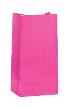 Hot Pink Paper Party Bags 12pk