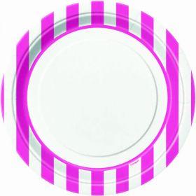 "Hot Pink Stripe 9"" Paper Plates, 8 Pk"