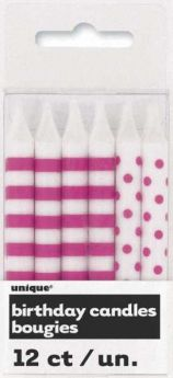 Hot Pink Stripe & Dot Birthday Candles, 12 Pack