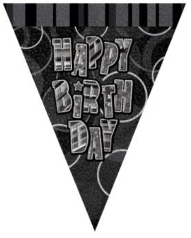 Black Glitz Happy Birthday Party Flag Banner