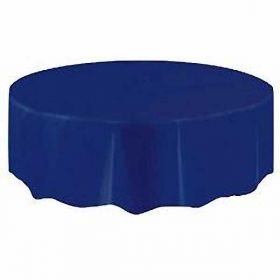 Value Navy Blue Round Plastic Tablecover