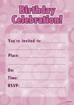 Pink Glitz Happy Birthday Party Invitations - Pack of 16